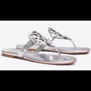 Nib Tory Burch Miller Sandal Metaliic Leather